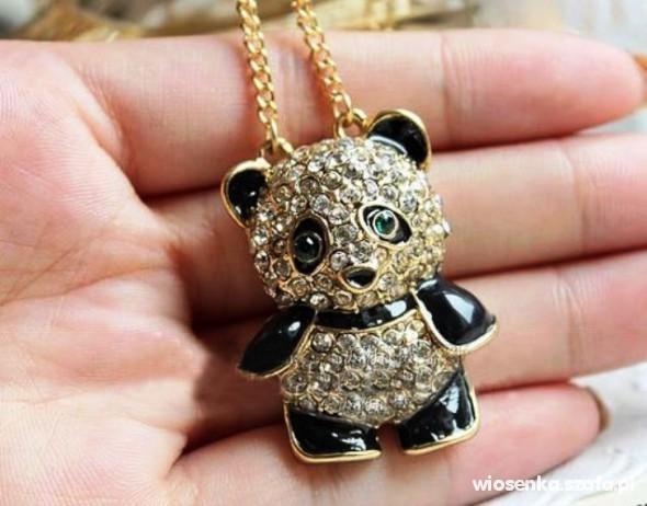 Piękny naszyjnik Panda kryształki słodki Promocja