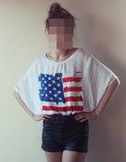 skórzane spodenki koszulka z motywem amerykańskim