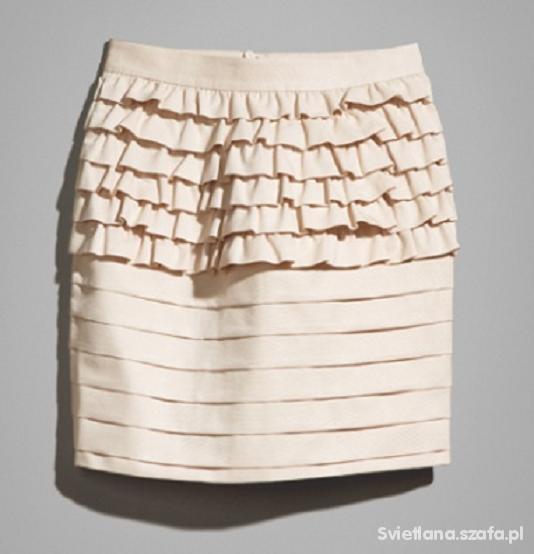 Śliczna pudrowa spódniczka z falbankami