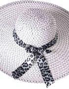 Biało czarny kapelusz ze wstążką...