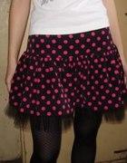 różowo czarna spódniczka z tiulem