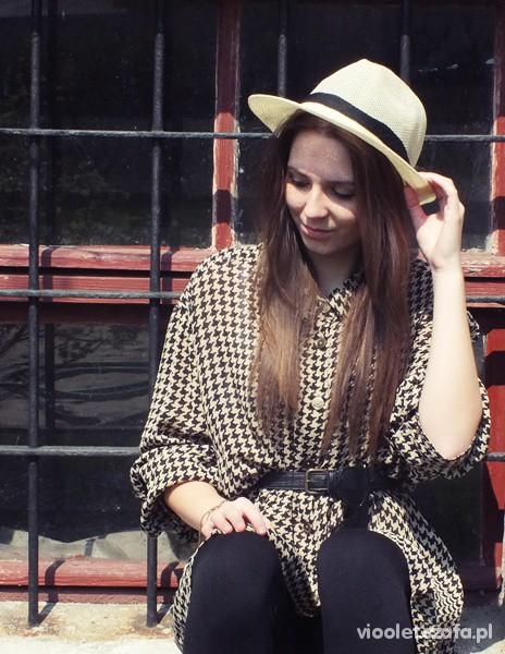 Blogerek koszulowa sukienka w pepitkę