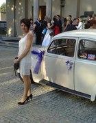 sukienka ecry frędzelki na wesele