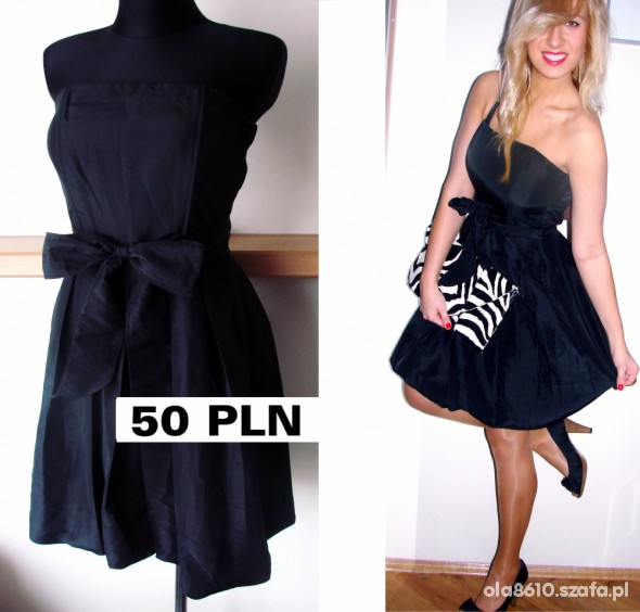 2757cf0014 SUKIENKA czarna BOMBKA z kokarda NOWA elegancka w Suknie i sukienki ...