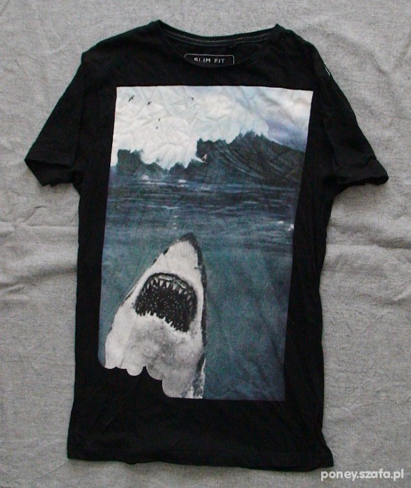 T-shirt tee SHARK surf oversize fotonadruk długi S M