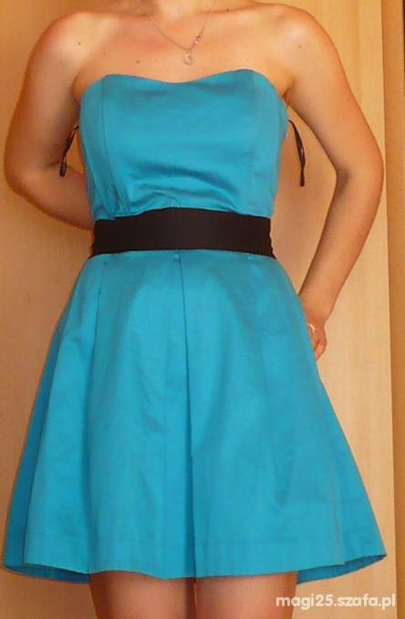 Sukienka turkusowa ATMOSPHERE kontrafałdy