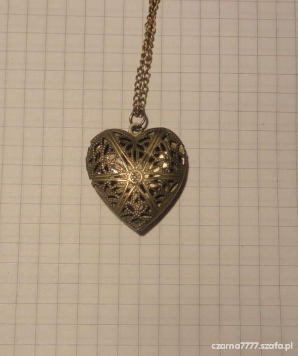 Naszyjnik SEKRETNIK ażurowe serce stare złoto