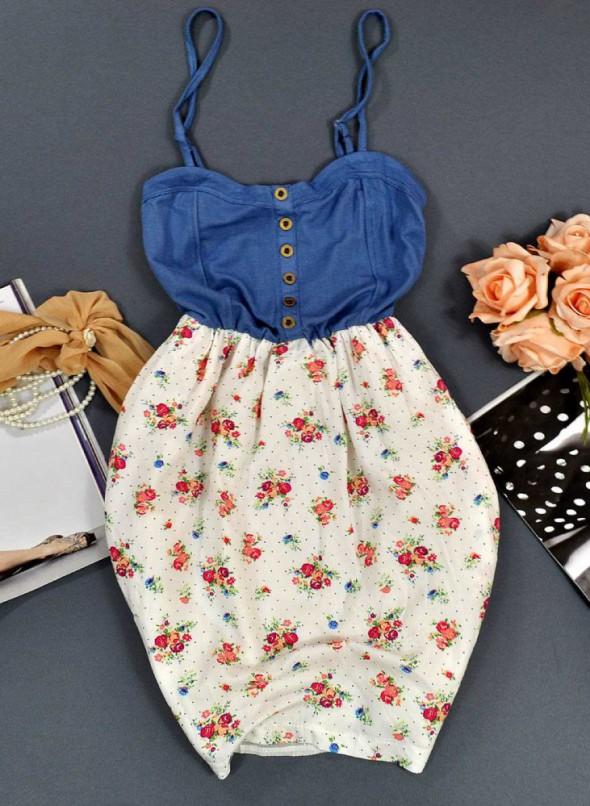 Suknie i sukienki Sukienka bombka kwiaty KOLORY