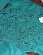 Koronkowa morska bluza zara...