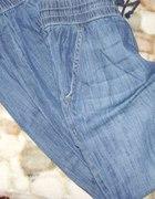 pumpy alladynki jeansowe ze ściągaczami...