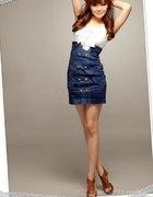 Jeansowa spódniczka z wysokim stanem Japan Style...