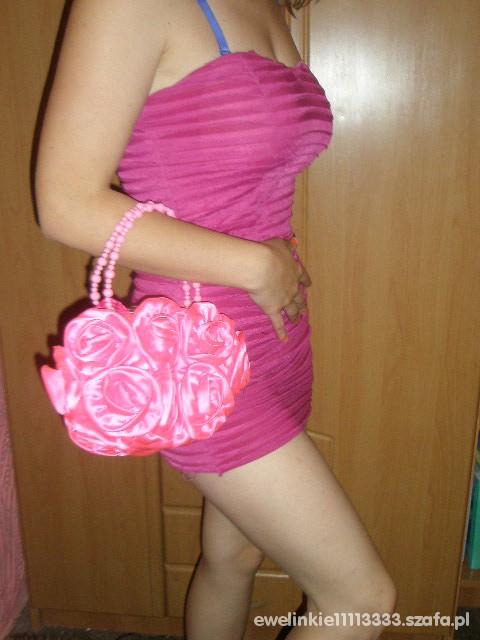 Suknie i sukienki Różowa bandażowa mini sukienka