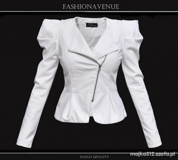 Aktualne Biała kurtka skóra Firma Fashion Avenue POLECAM w Odzież ZS24