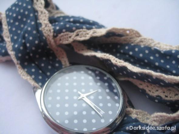 HIT LONDYN zegarek kropeczki KORONKA materiałowy