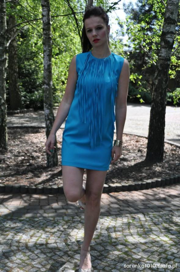 Eleganckie frędzle lizzie blue