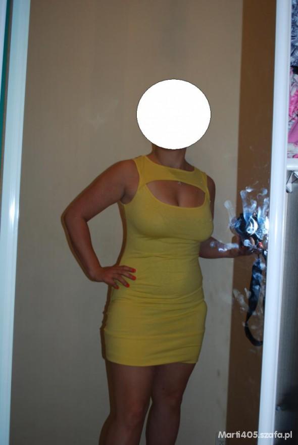 Suknie i sukienki Seduction neon żółta bandażowa sukienka HIT