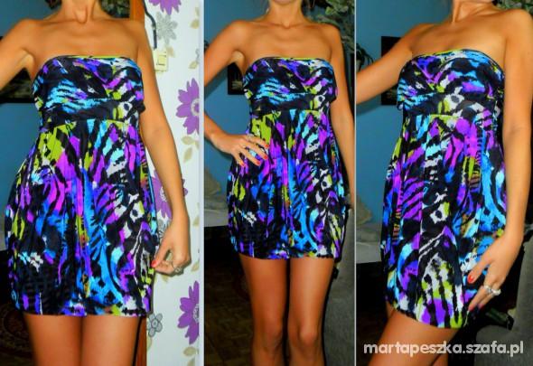 Suknie i sukienki ŚLICZNA KOLOROWA SUKIENKA R 38