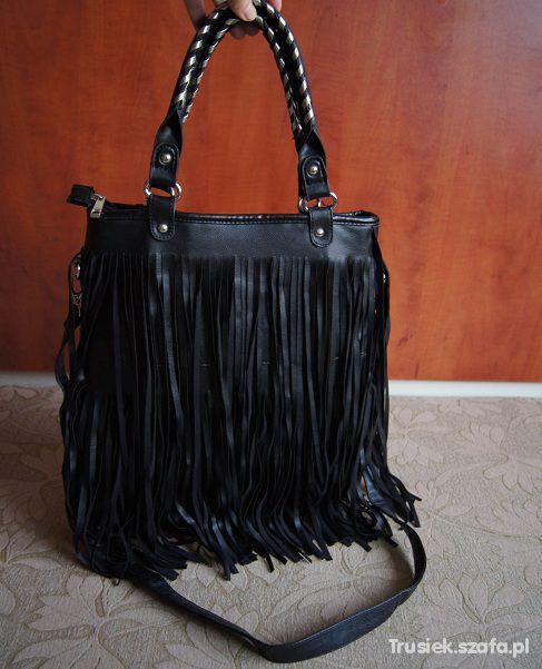 Torebki na co dzień Moja czarna boho torebka z frędzlami