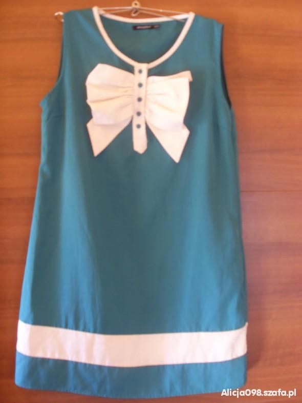 Suknie i sukienki Zielona sukienka z kokardą XL