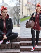 Red sneakers&Motor jacket