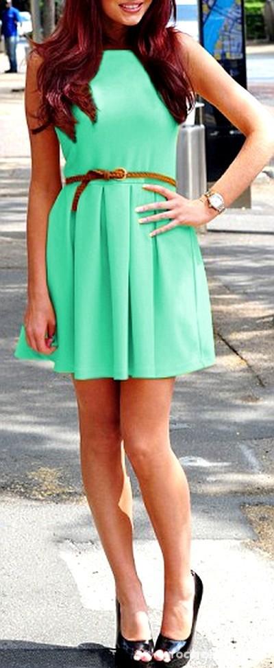 Suknie i sukienki rozkloszowana miętowa