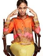 H&M orange wzorki neony