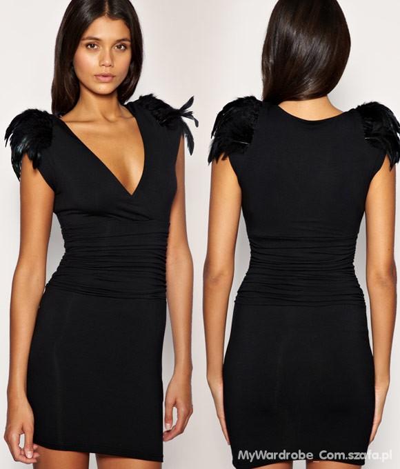 21b77f0ee7 Suknie i sukienki Asos Lipsy London Pióra pagony mała czarna 10 S M