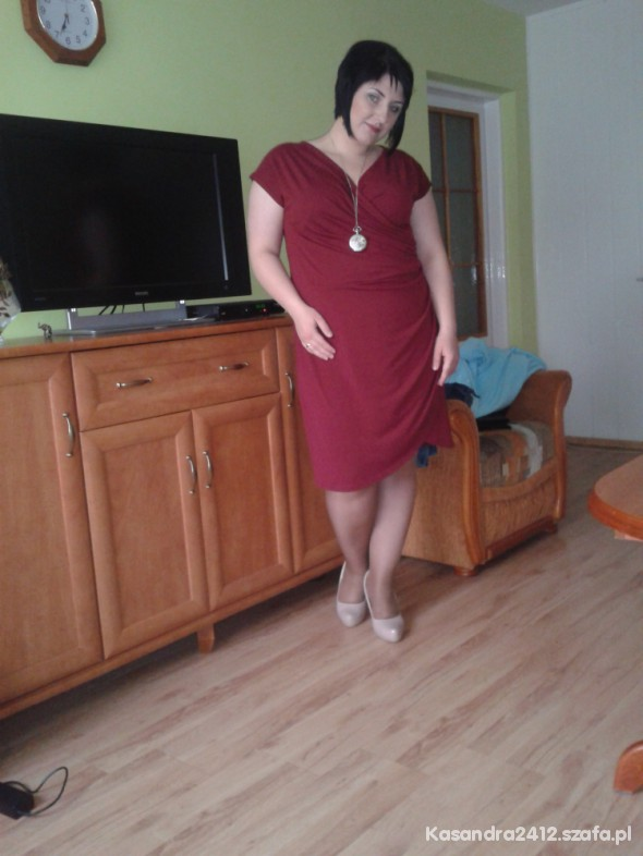 Eleganckie Bordowa sukienka