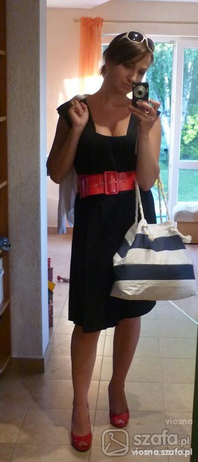 Suknie i sukienki Granatowa sukienka w marynarskim stylu