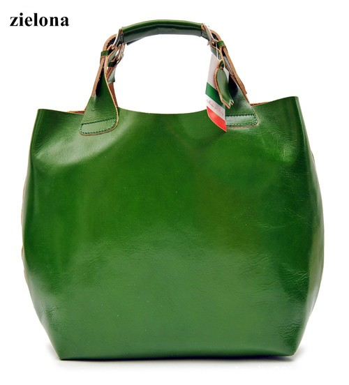 Zielona torba shopper ze skóry