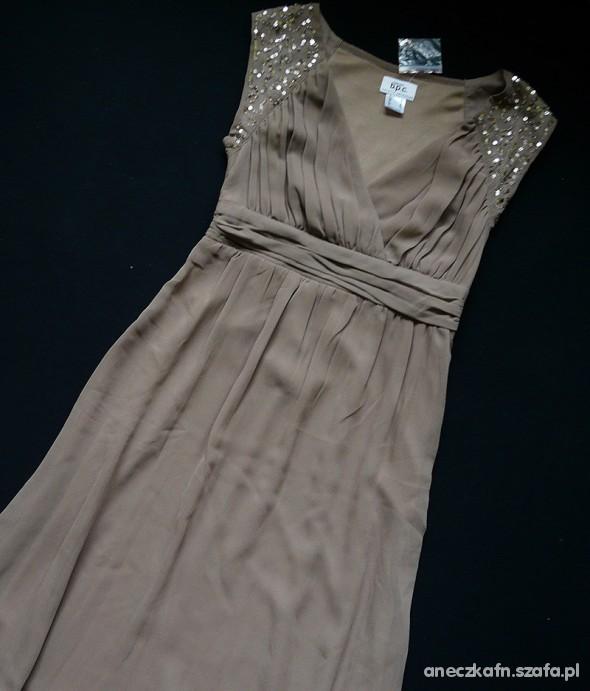 Suknie i sukienki Sukienka beżowa cekiny 34 36