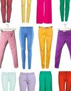 miętowe brzoskwiniowepastelowe kolorowe spodnie