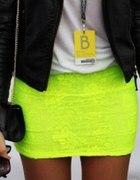 Neonowa koronkowa spódnica bandażowa fluo neon...