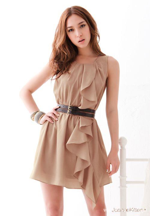 Suknie i sukienki sukienka z falbanką pudrowy róż jak nowa 38 40 42