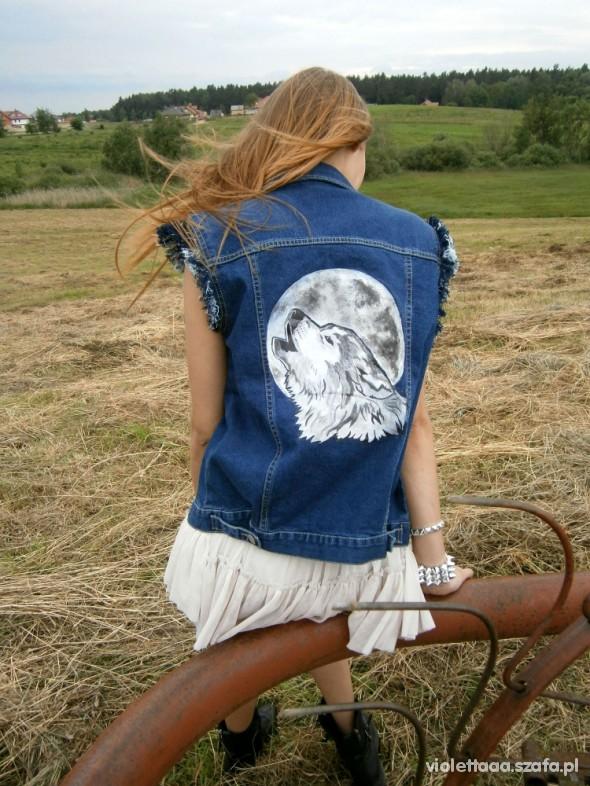 kamizelka jeansowa diy wilk