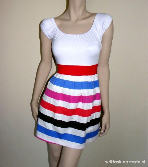 Suknie i sukienki CUDNA SUKIENKA WIĄZANA W PASIE ROZ UNI KOLORY