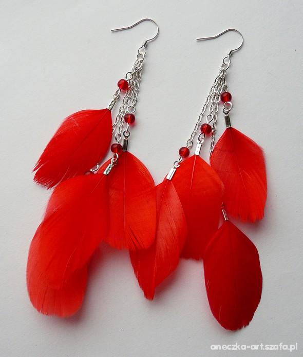 Kolczyki piórka czerwone i białe