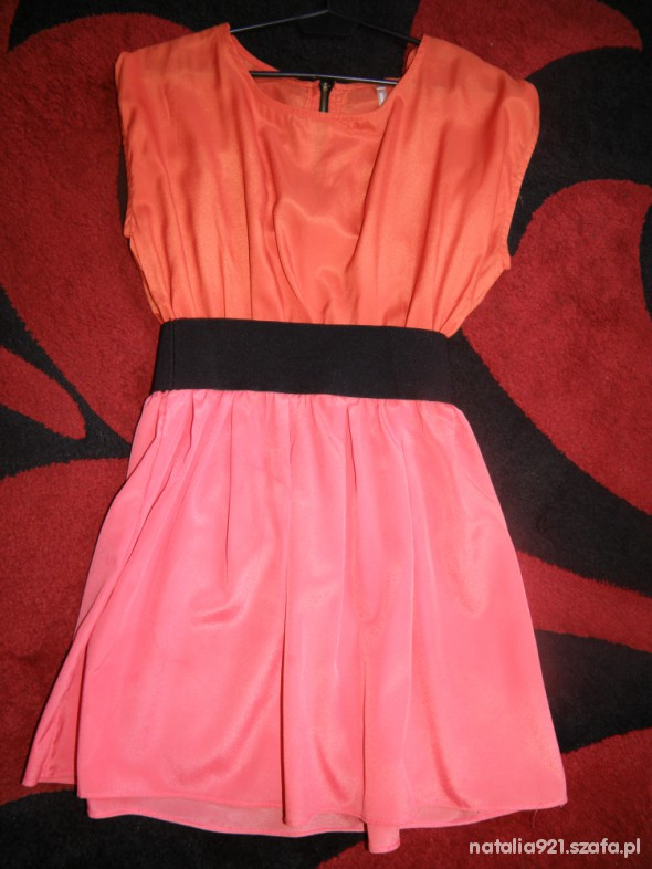 Suknie i sukienki sukienka pomarańczowo różowa