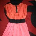 sukienka pomarańczowo różowa