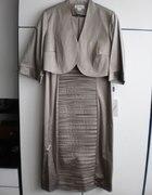 Sukienka jasne cappucino ciemny beż 44