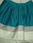 Mini spódnica TOPSHOP turkusowa z szarym i białym