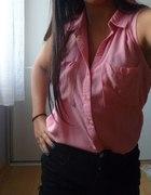 różowa koszula bez rękawów H&M...