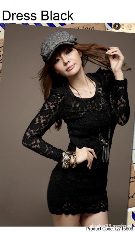Japan style sukienka koronkowa czarna