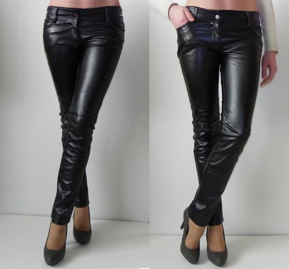 Włoskie skórzane spodnie XS S M mat