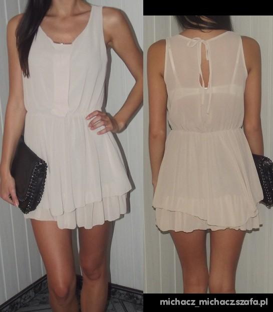 bezowa sukienka