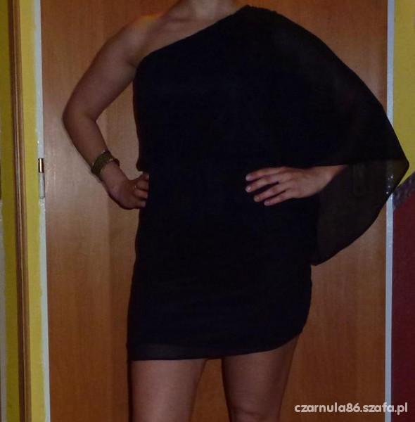 Suknie i sukienki CZARNA SUKIENKA TIUL JEDNO RAMIĘ S 36 MOTYL