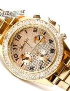 Złoty Srebrny zegarek PAIDU cyrkonie swarovski HIT