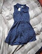 h&m sukieneczka granatowa z gwiazdeczkami super