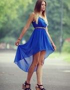 Kobaltowa asymetryczna sukienka