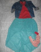 asymetryczna miętowa spódnica